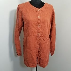 FLAX Burnt Orange Linen Half Button Top S
